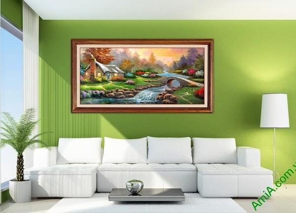 Tranh phong cảnh treo tường phòng khách in giả sơn dầu-03