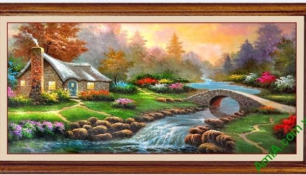 Tranh phong cảnh treo tường phòng khách in giả sơn dầu