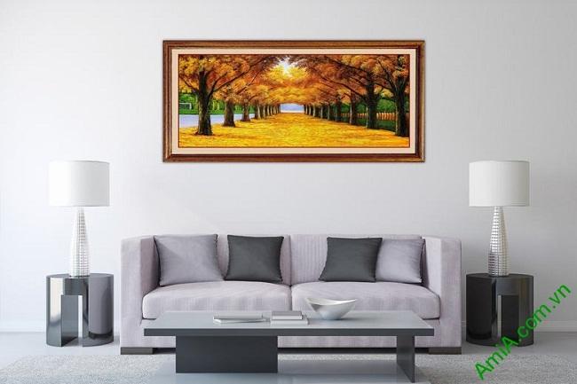 Tranh treo tường phong cảnh mùa thu lá vàng Amia 433-01