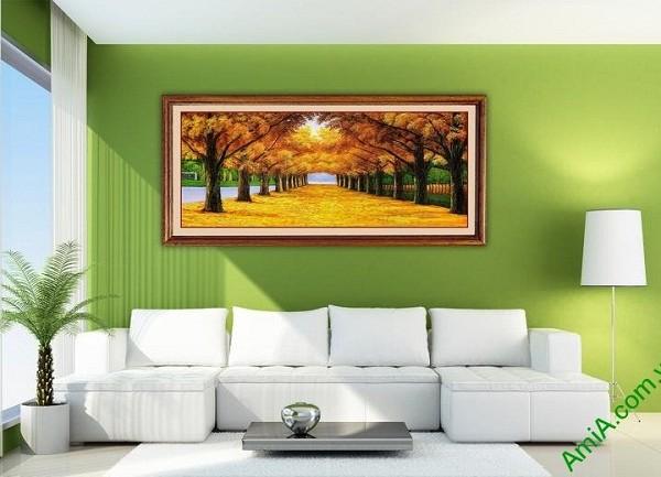 Tranh treo tường phong cảnh mùa thu lá vàng Amia 433-02