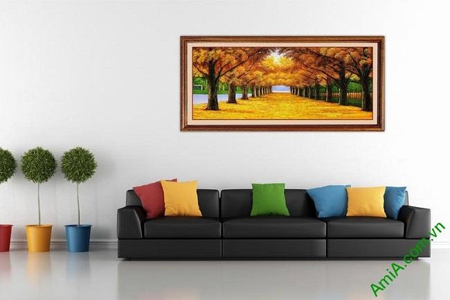 Tranh treo tường phong cảnh mùa thu lá vàng Amia 433-03