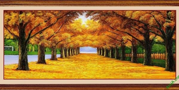 Tranh treo tường phong cảnh mùa thu lá vàng Amia 433