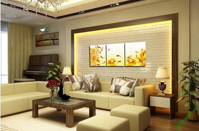 Tranh treo tường phòng khách hiện đại Cửu ngư quần hội-01