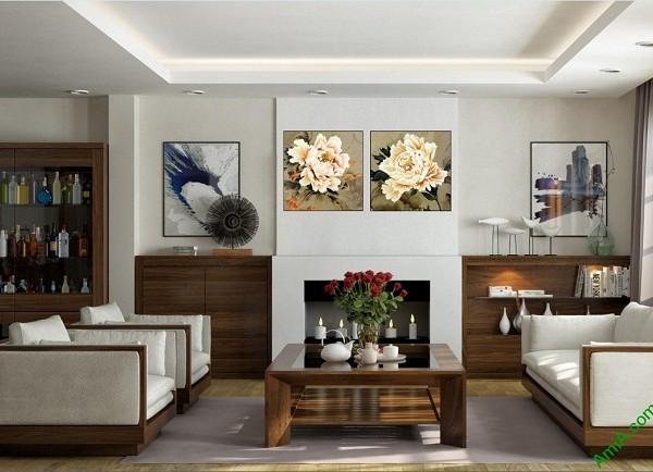 Tranh treo tường phòng khách hiện đại Song hoa mẫu đơn-01