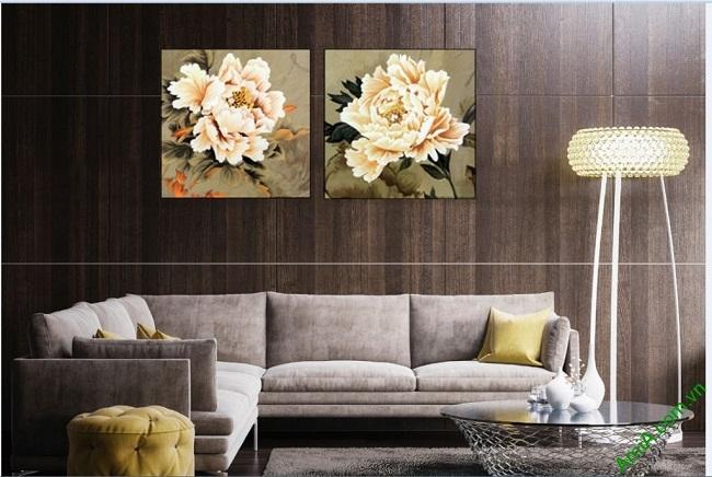 Tranh treo tường phòng khách hiện đại Song hoa mẫu đơn-02