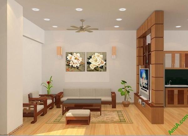 Tranh treo tường phòng khách hiện đại Song hoa mẫu đơn-03