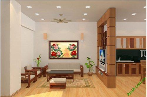 Tranh treo tường phòng khách, phòng ngủ hoa Mẫu Đơn-03