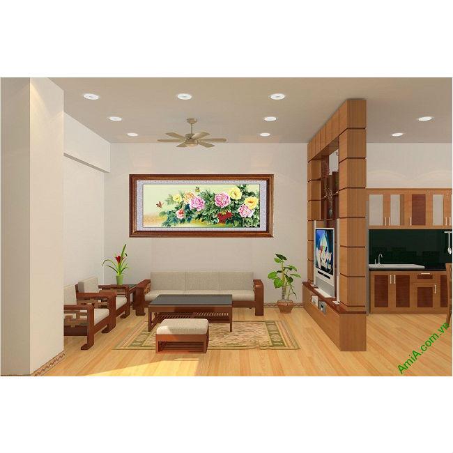 Tranh treo tường phòng khách, phòng ngủ hoa mẫu đơn Amia 427-00