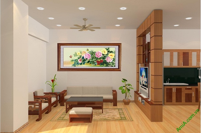 Tranh treo tường phòng khách, phòng ngủ hoa mẫu đơn Amia 427-01