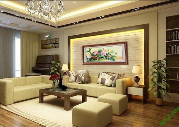 Tranh treo tường phòng khách, phòng ngủ hoa mẫu đơn Amia 427-02
