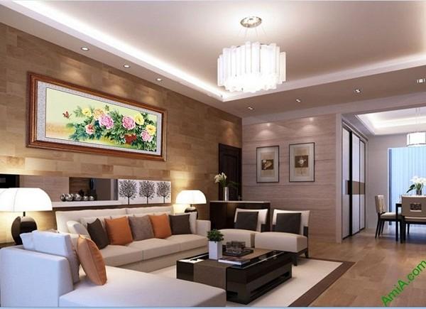 Tranh treo tường phòng khách, phòng ngủ hoa mẫu đơn Amia 427-03