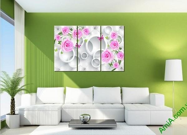 Tranh treo tường vector nghệ thuật hoa hồng Amia 435-02