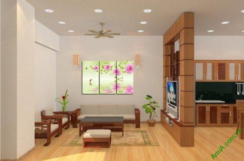 Tranh treo tường vector nghệ thuật hoa mẫu đơn Amia 428-02