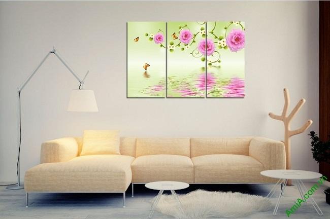 Tranh treo tường vector nghệ thuật hoa mẫu đơn Amia 428-03