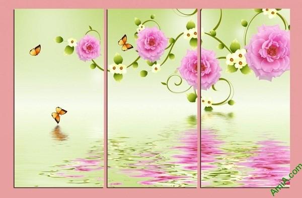 Tranh treo tường vector nghệ thuật hoa mẫu đơn Amia 428