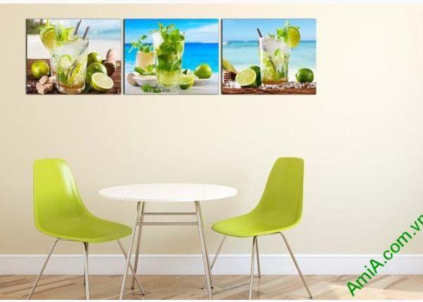Bộ tranh treo tường phòng ăn, nhà bếp ly nước mát lạnh-01