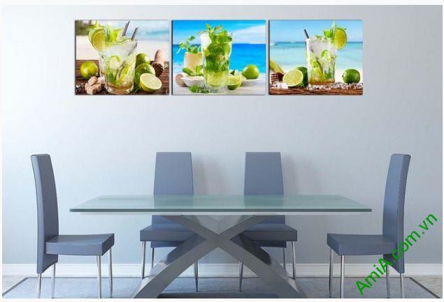Bộ tranh treo tường phòng ăn, nhà bếp ly nước mát lạnh-02
