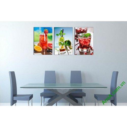 Tranh ghép bộ treo tường phòng ăn ly nước trái cây mát lạnh-00