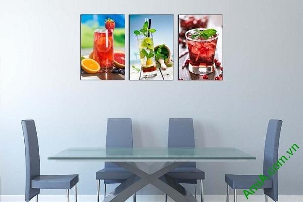 Tranh ghép bộ treo tường phòng ăn ly nước trái cây mát lạnh-01