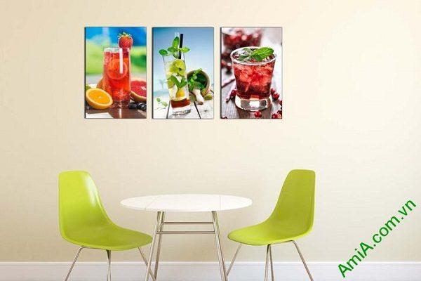 Tranh ghép bộ treo tường phòng ăn ly nước trái cây mát lạnh-02