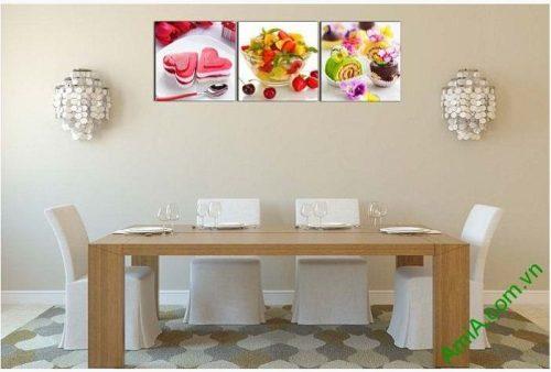 Tranh ghép bộ treo tường phòng ăn món ăn vặt AmiA 617-01