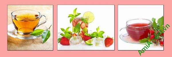 Tranh treo tường phòng ăn sang trọng ly nước trái cây