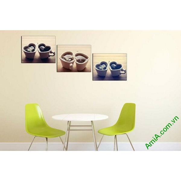 Tranh treo tường trang trí hiện đại ly cafe tình yêu-00