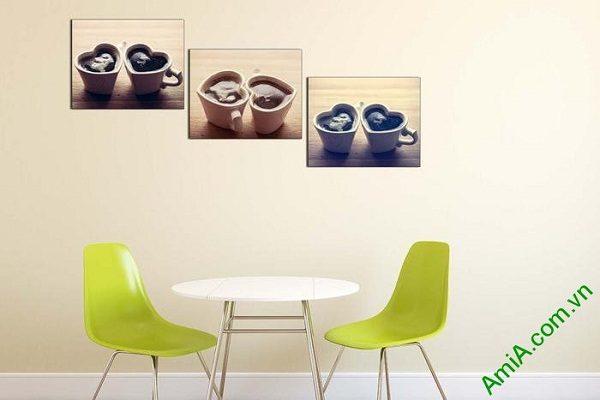 Tranh treo tường trang trí hiện đại ly cafe tình yêu-01
