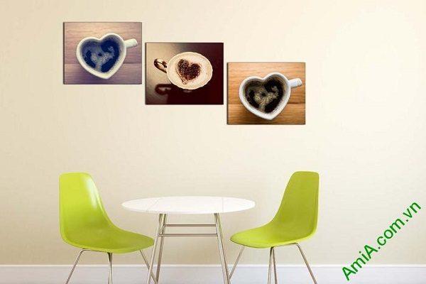 Tranh treo tường trang trí tách cafe capuchino AmiA 621-02