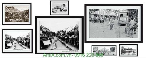 Hình ảnh Bộ khung tranh treo tường nghệ thuật hà nội xưa amia 999