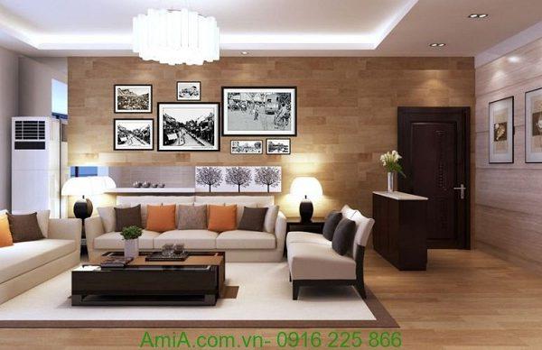Hình ảnh của Bộ khung tranh treo tường nghệ thuật hà nội xưa khi đặt treo phòng khách
