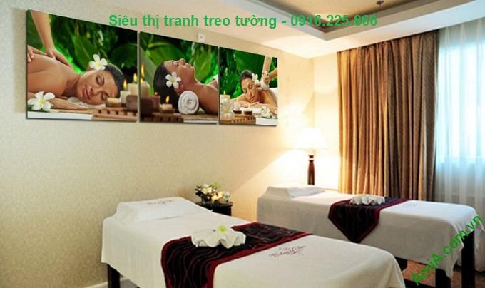 Hình ảnh Bộ tranh ghép treo tường spa cô gái thư giãn
