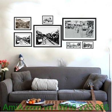 Hình ảnh mẫu thiết kế Bộ khung tranh treo tường nghệ thuật hà nội xưa