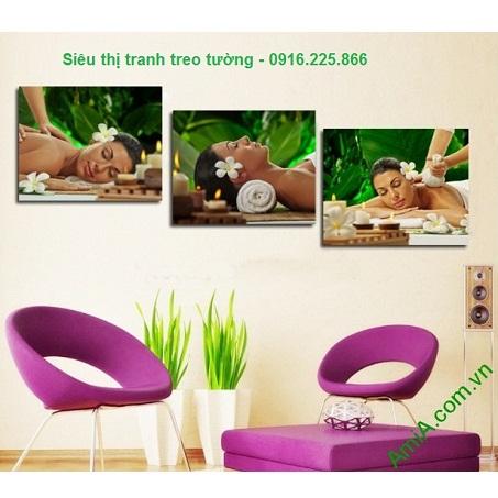 Hình ảnh mẫu Bộ tranh ghép treo tường spa cô gái thư giãn