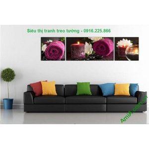 Hình ảnh mẫu Tranh treo tường spa nến khăn tím