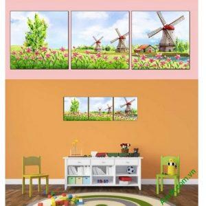 Hình ảnh mẫu tranh ghép bộ treo tường phòng của bé cối xay gió