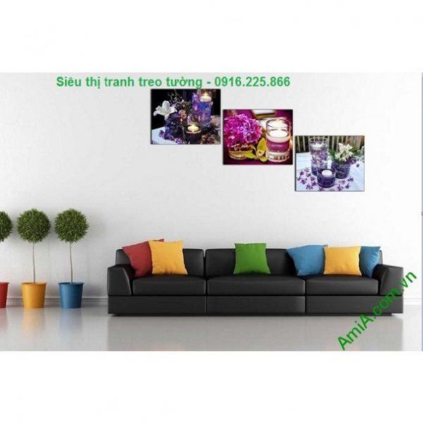 Hình ảnh mẫu Tranh ghép bộ treo tường spa nến hoa