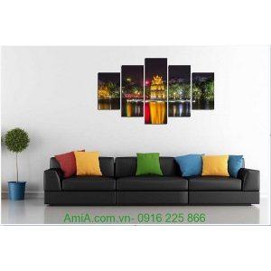 Hình ảnh mẫu tranh phong cảnh hồ gươm treo tường phòng khách