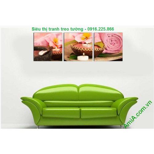 Hình ảnh mẫu Tranh treo tường spa đẹp nến khăn hồng