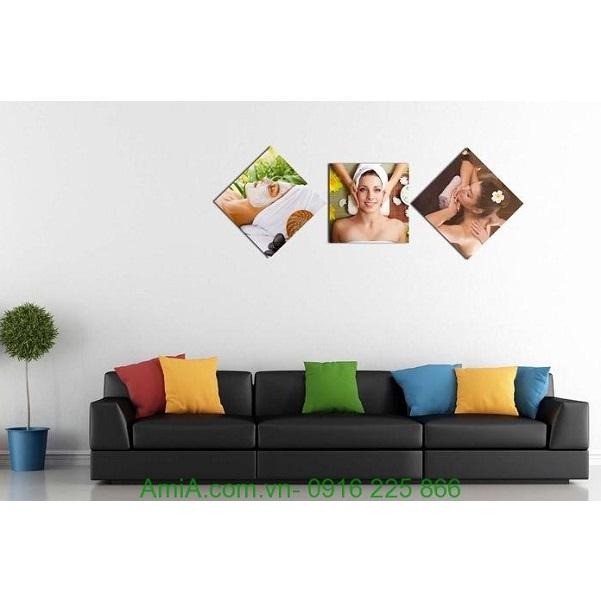 Hình ảnh mẫu Tranh treo tường spa ghép bộ hình thoi