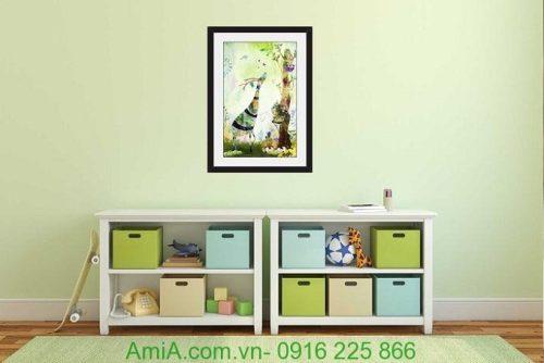 Hình ảnh Khung tranh treo tường nghệ thuật đặt phòng trẻ em hươu cao cổ