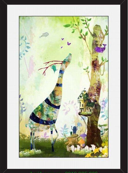 Hình ảnh Khung tranh treo tường nghệ thuật hươu cao cổ