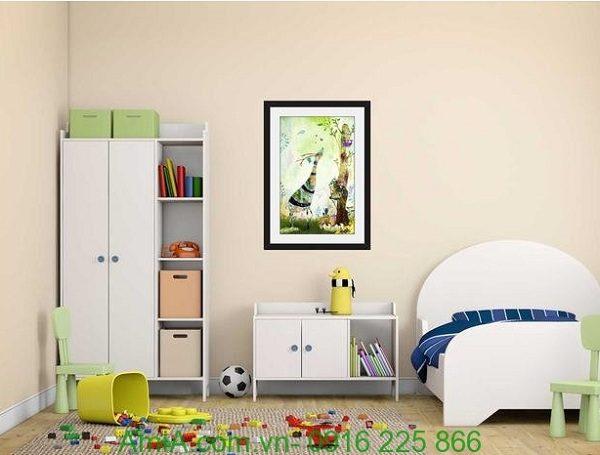Hình ảnh Khung tranh treo tường nghệ thuật hươu cao cổ đặt phòng trẻ em