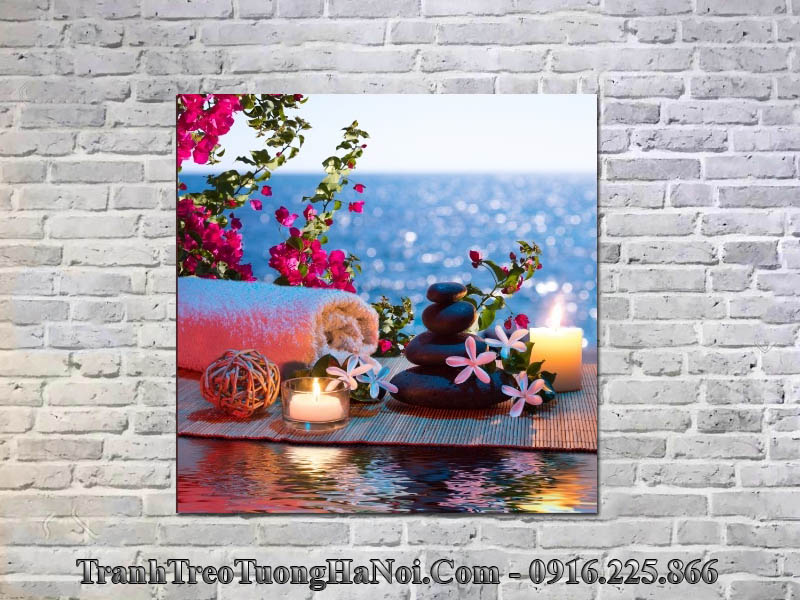 Tranh nến hoa đẹp trang trí spa