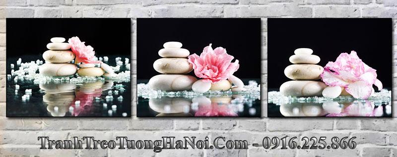 Tranh 3 tấm hoa đá trang trí spa