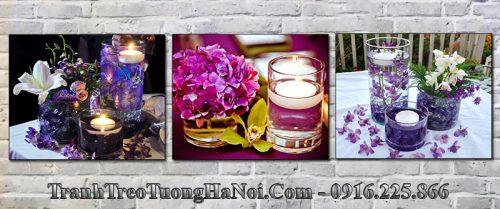 Tranh spa trang trí hiện đại nến hoa