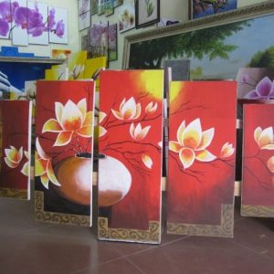 Tranh binh hoa ve son dau treo tuong sau khi kho tai shop tranh amia