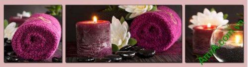 Hình ảnh Tranh treo tường spa nến khăn tím