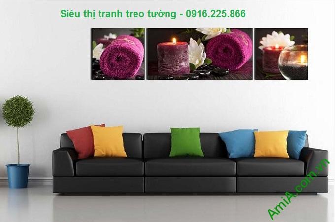 Hình ảnh Tranh treo tường spa nến khăn tím treo phòng khách hiện đại