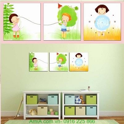 Hình ảnh tranh đồng hồ treo tường phòng trẻ em đẹp